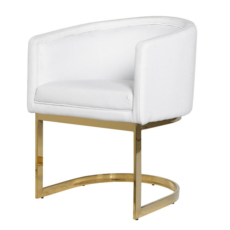 white pu dining chair gold metal frame mulberry moon