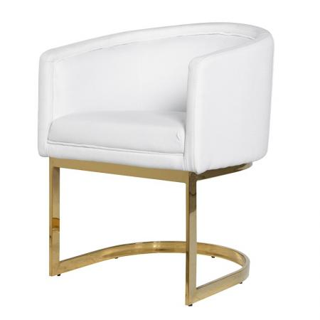 Gold Faux Leather White Weave Dining Chair – Metal Frame Dining Chairs