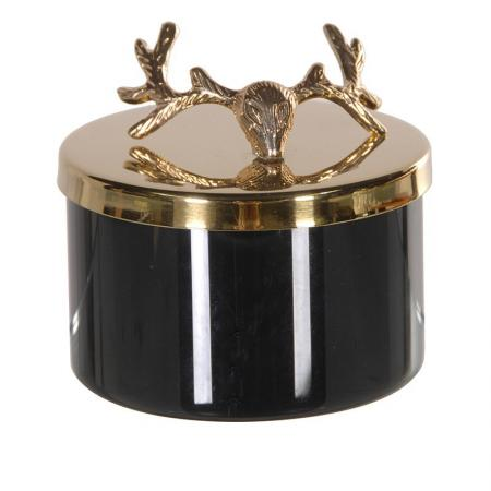 Luxury Gold Stag's Antlers Lid Candle Box