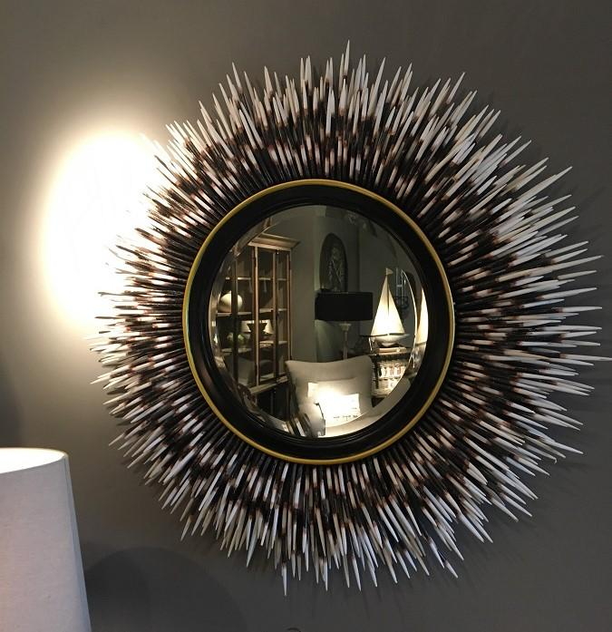 Large Black Porcupine Quill Mirror Mulberry Moon