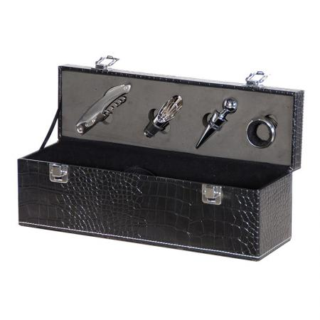 Black Faux Leather Wine Bottle Box With Tools