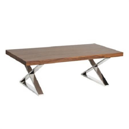 Apex Chrome / Dark Wood X-Frame Coffee Table