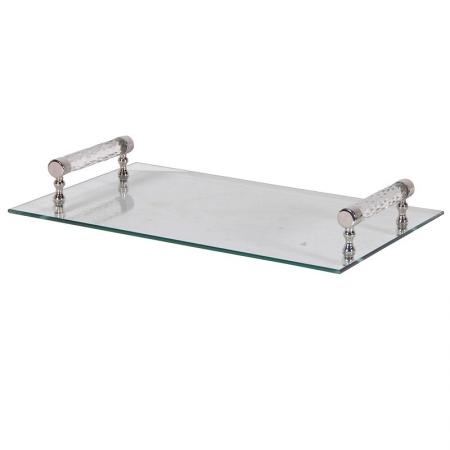 Glass Tray With Crystal & Chrome Handles
