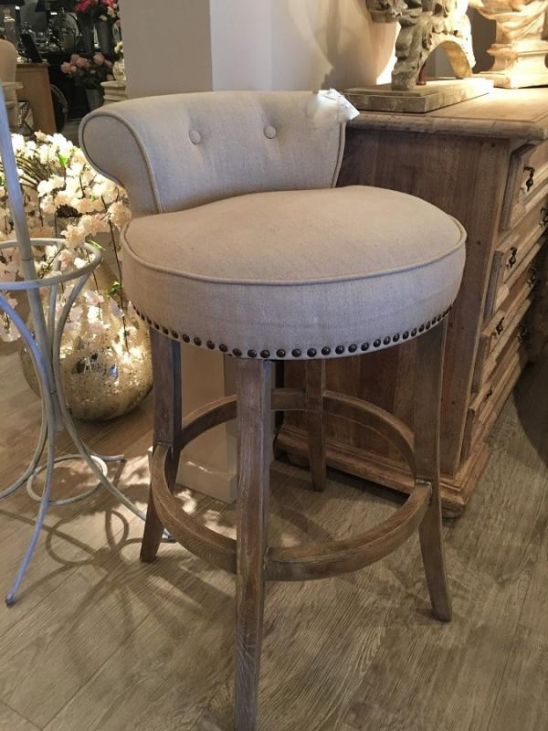 Beige Linen Amp Stud Roll Top Bar Stool Mulberry Moon