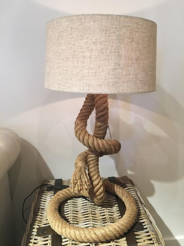 Large Chunky Twisted Rope Lamp With Shade