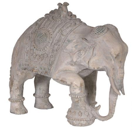 Antiqued Stone Indian Elephant Sculpture