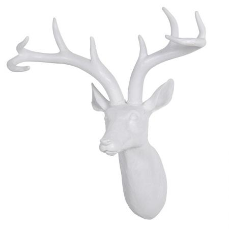 Small White Deer Head Sculpture