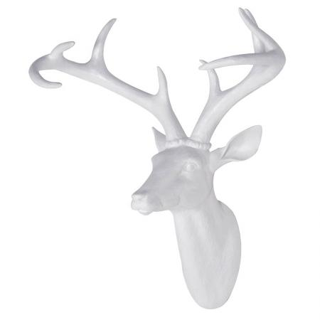 Large White Resin Deer Head Sculpture