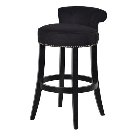 Black Upholstered Roll Top Bar Stool / Chair