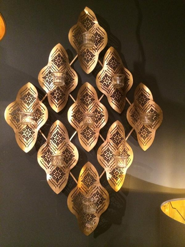 Gold Wave Moroccan Wall T-Lights Holder | Mulberry Moon