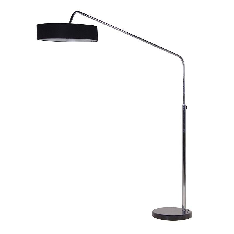 Chrome floor lamp with black fabric shade mulberry moon chrome floor lamp with black fabric shade aloadofball Choice Image