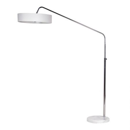 Chrome Floor Lamp With White Fabric Shade