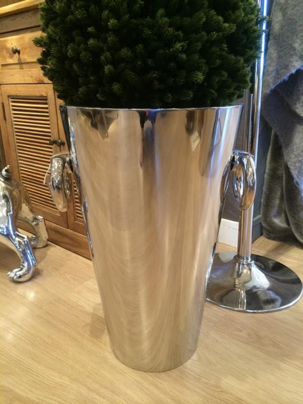 Large Tapered Silver Nickel Planter Mulberry Moon