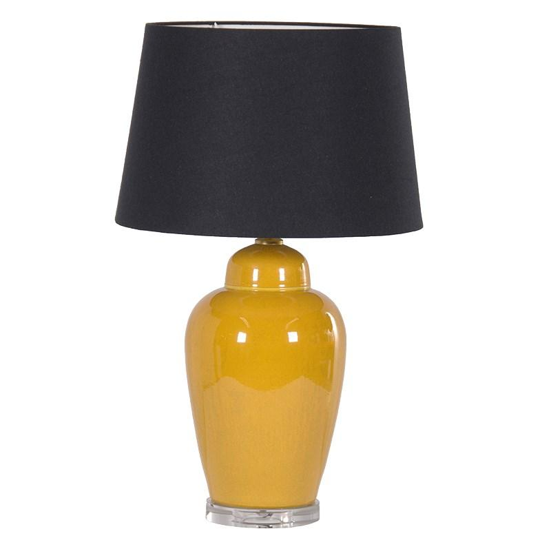 Contemporary Yellow Ceramic Lamp Amp Black Shade Mulberry Moon