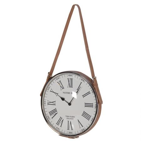'Notre Dame' Leather Strap Hanging Clock