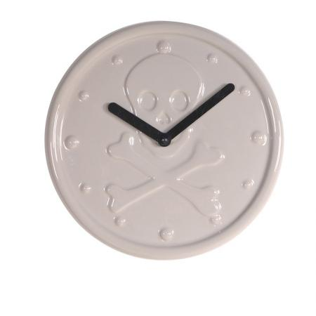 Ceramic Grey 'Skull' Clock