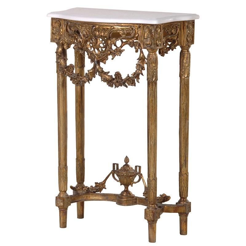 Marble Coffee Table Ornate: Gold Leaf Ornate Console Table With Marble Top