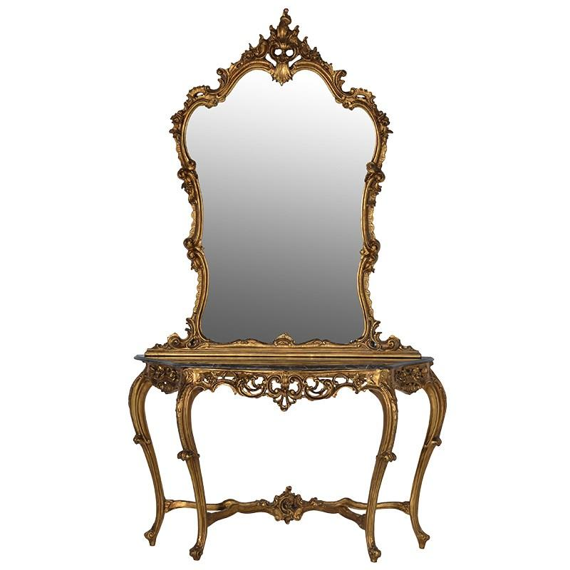 ornate gilt gold console table with huge mirror