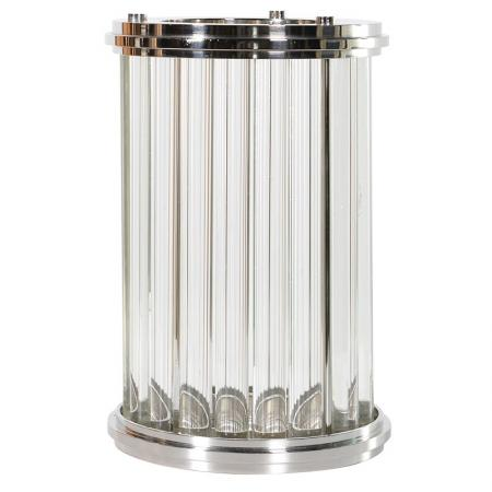 Large Chrome Art Deco Hurricane Glass / Candle Holder