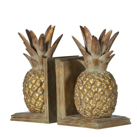 Large Gold Pineapple Bookends