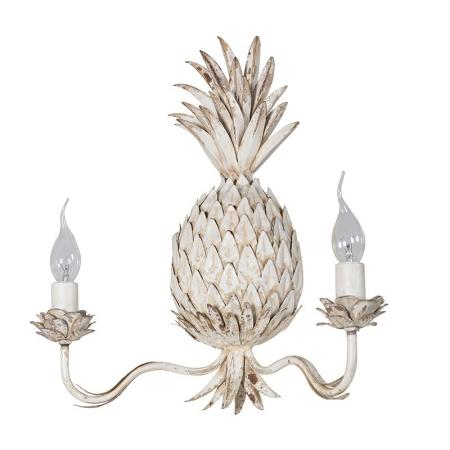 Pair of Cream Metal Pineapple Wall Lights