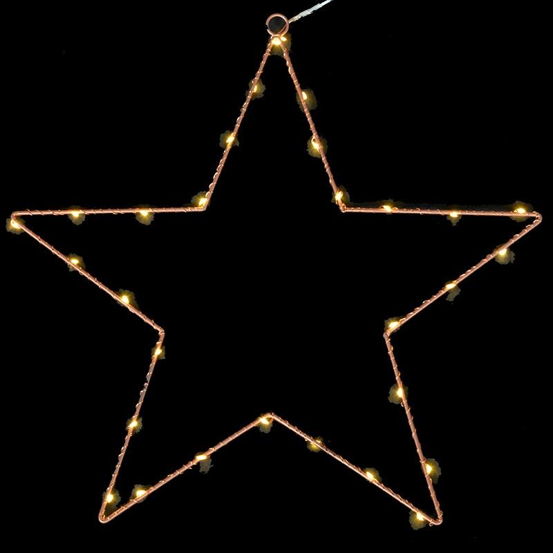 Light Up 30 Mini Led Bronze Wire Star
