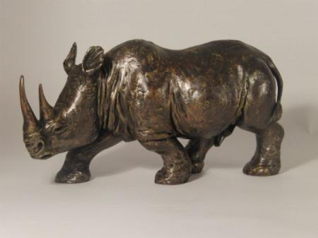 Rhino - Bronze Sculpture by Johnathan Saunders
