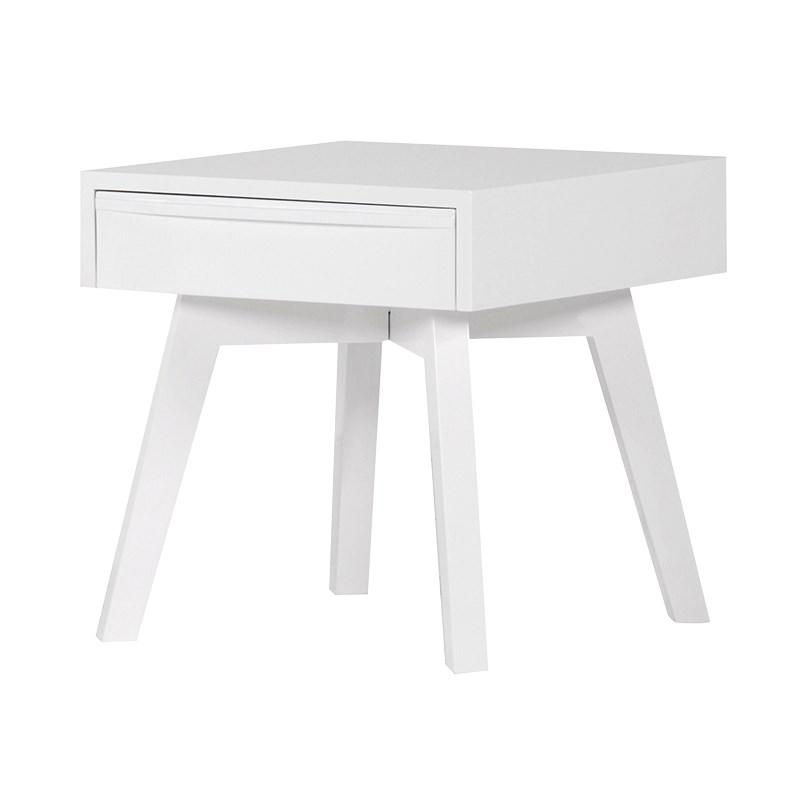White High Gloss Small Bedside Side Table Mulberry Moon