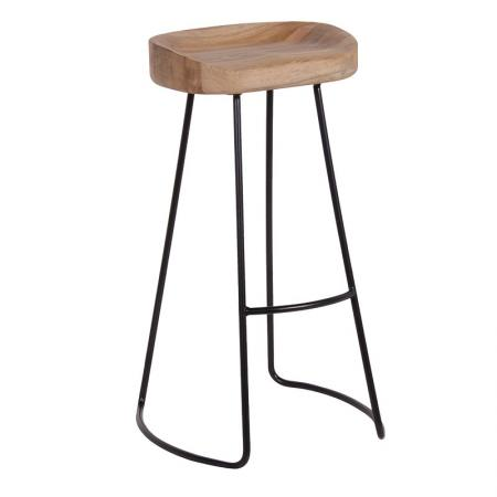 Weathered Oak & Metal Bar Stool