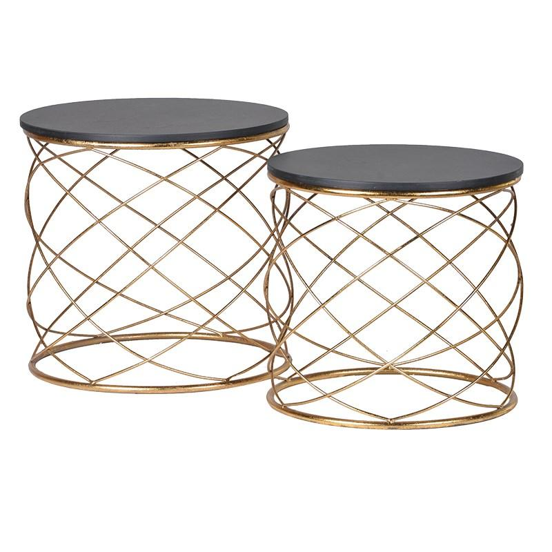 Set Of 2 Gold Loops End Tables / Drum Tables