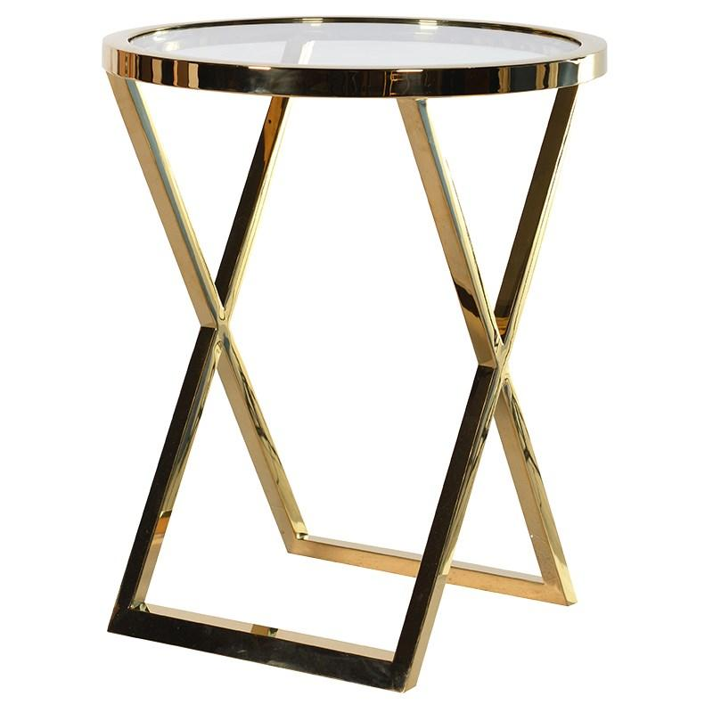 Small Round Gold Metal Side Table / Glass Top