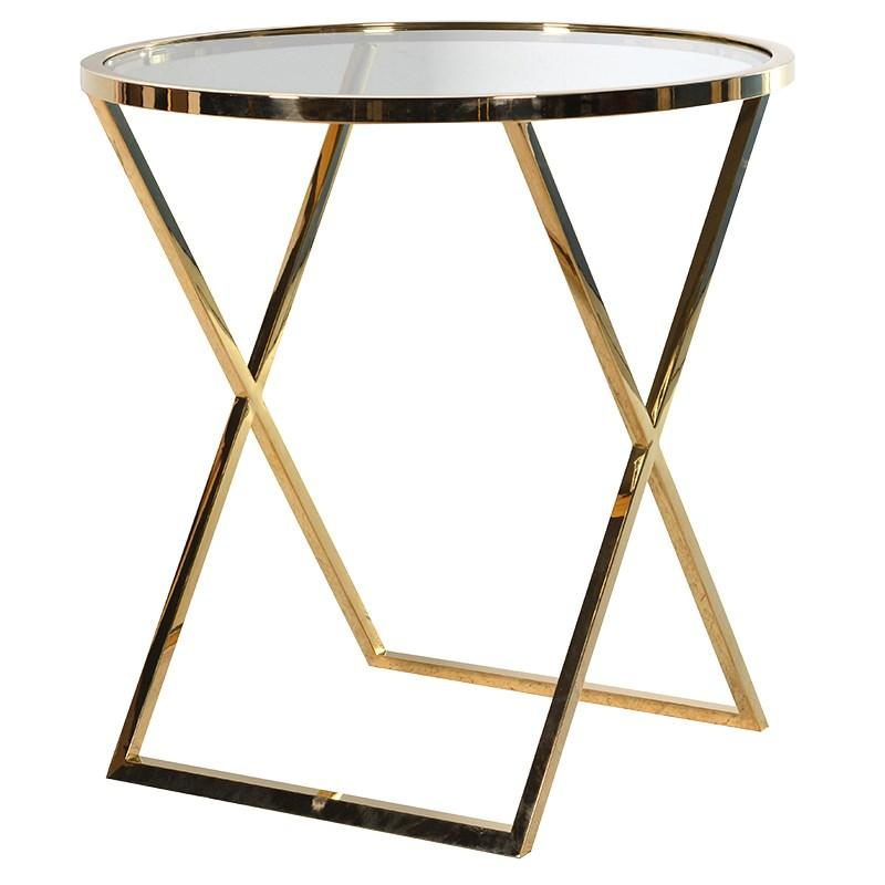 Large round gold metal side table glass top mulberry moon for Large glass table top