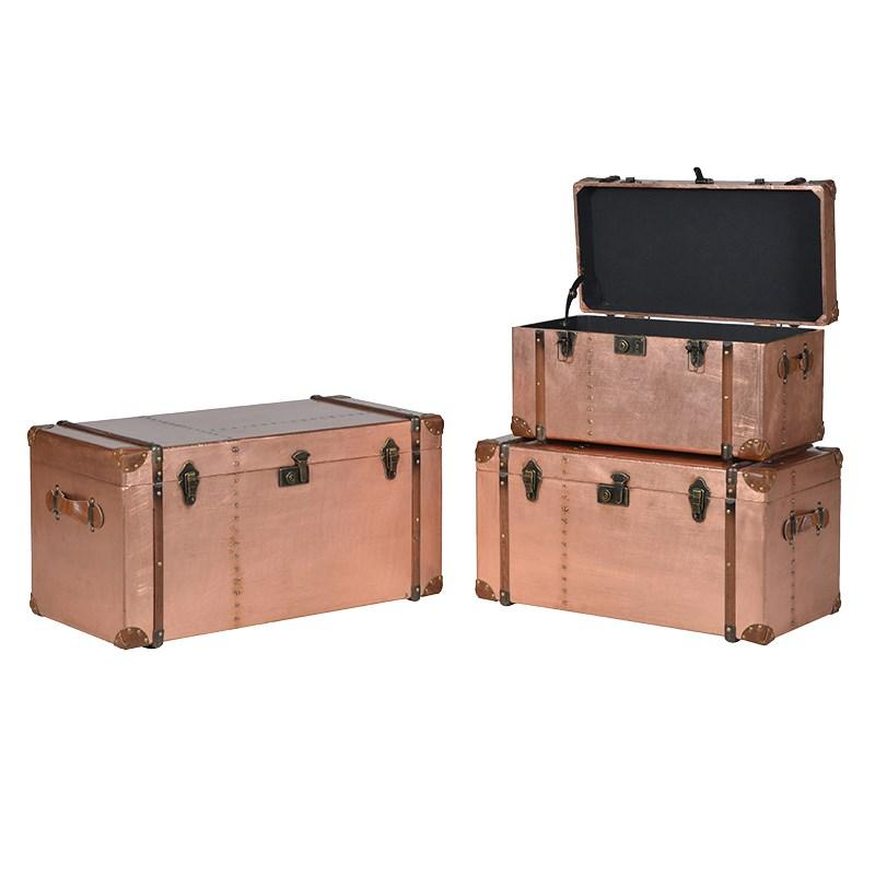 Large Set 3 Copper Metal Storage Trunks