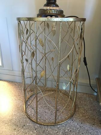 Gold Metal Leaf End Table / Drum Table