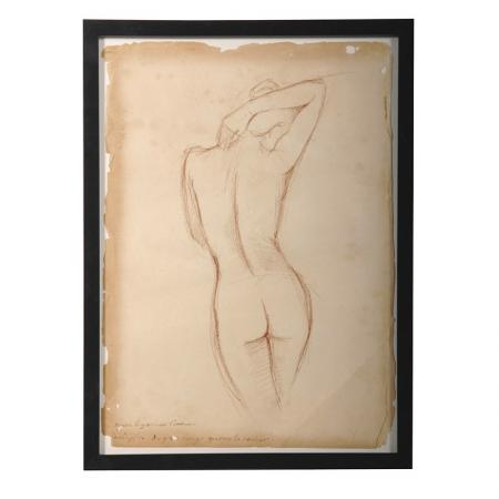 Framed Antiqued Nude Lady Picture