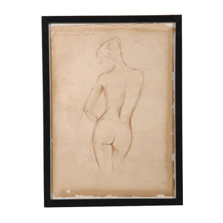 Framed Antiqued Nude Lady Pencil Picture
