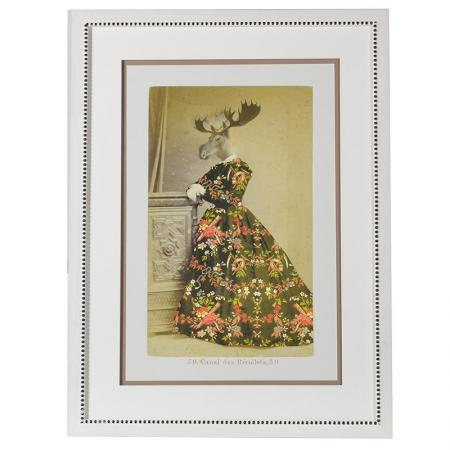 Lg Framed Moose In A Dress Picture