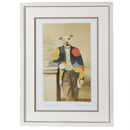 Lg Framed Dressed Dog Picture