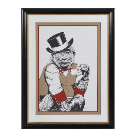 Huge Framed Monkey With Top Hat Picture