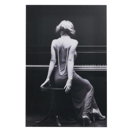 Large Black & White Acrylic 'The Pianist' Picture