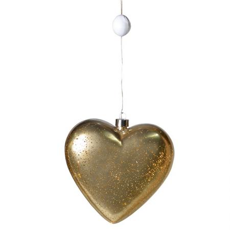 Lg Gold Glass LED Light Up Heart