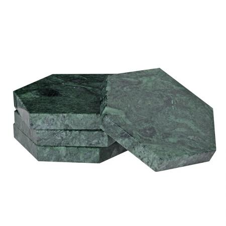 Set of 4 Green Marble Hexagonal Coasters
