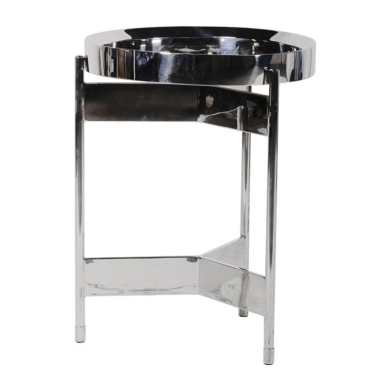 Small Round Steel Terano Lamp Side Table Mulberry Moon