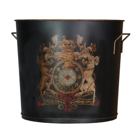 Large Metal Armorial Log Bin