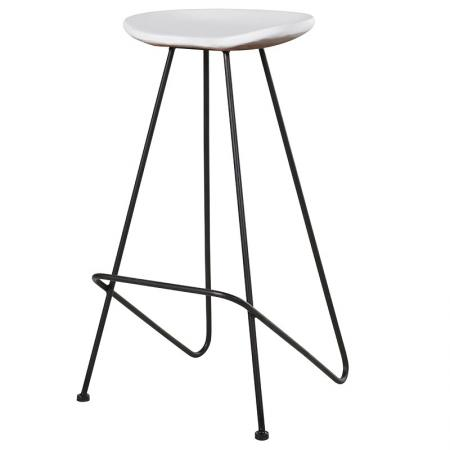 Metal Stool With White Wood Seat