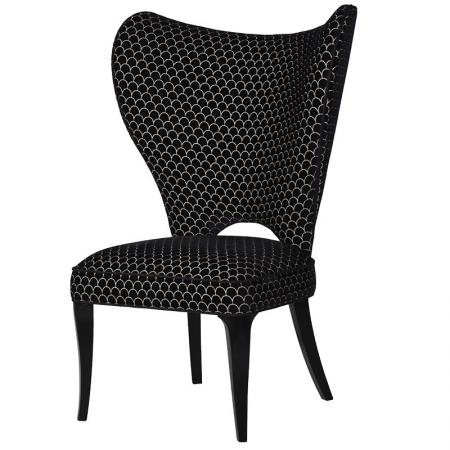 Contempoary Black & White Fabric Wing Chair