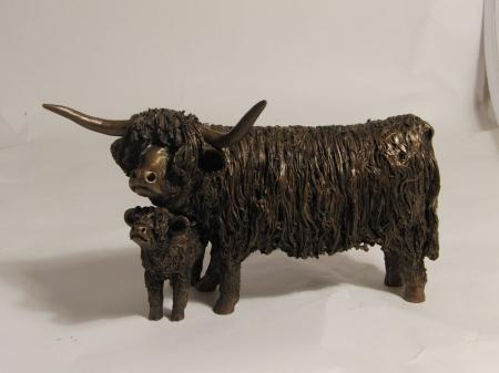 Highland Cow and Calf Standing Sculpture by Veronica Ballan