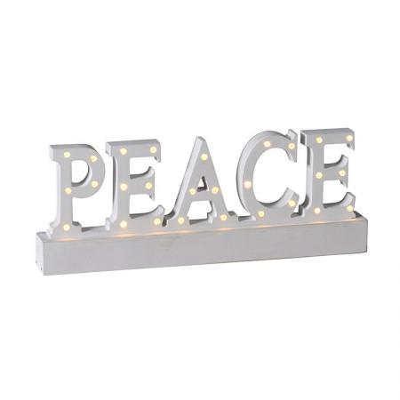 Peace Wooden Light up Christmas Decoration