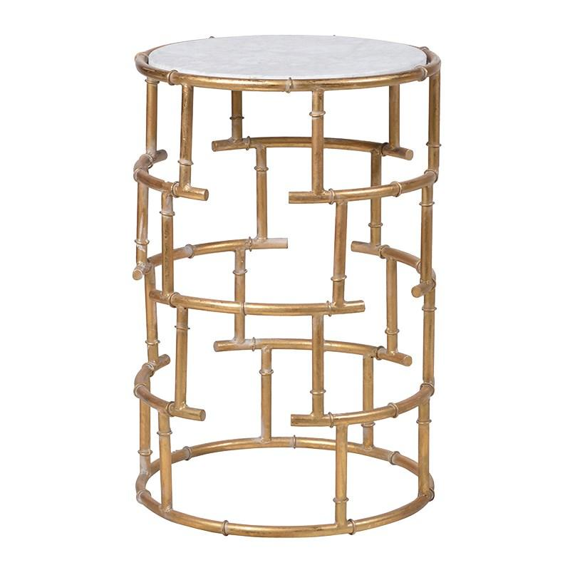 Round gold white marble effect side table mulberry moon for Round gold side table