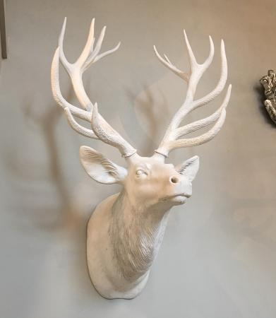 Giant White Reindeer Head Wall Sculpture